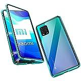 Funda para Xiaomi Mi 10 Lite 5G Magnetica Adsorption Carcasa 360 Grados Frente y Parte Posterior Cuerpo Completo Transparente Vidrio Templado Protección Metal Choque Cover Case - Verde