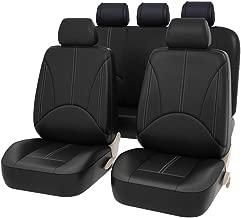 Cubiertas de asientos de auto Cuero de la PU Auto universal para el regalo Protectores de asientos delanteros y traseros para automóviles Se adapta a la mayoría de los autos camionetas Van SUV, negro