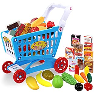 Customer reviews Childrens Shopping Trolley Cart Basket for Child Toy Shop Play Kitchen Play Food