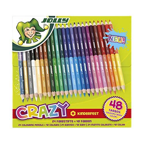 Jolly Superstick Crazy Buntstifte Farbstifte, 48 Farben mit 24 Farbstiften, Kinderfest und Bruchsicher, Ungiftig, extra dicke Mine, 24 Stifte im Kartonetui