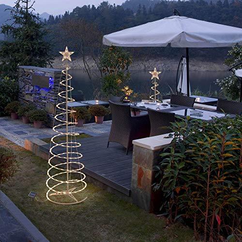 Yescom 6Ft 4Ft 3Ft Solar Panel 3 Set LED Christmas Spiral Light Kit Indoor Outdoor Decoration
