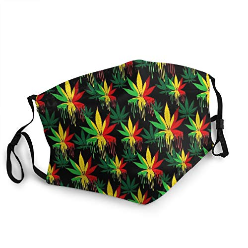 KAIDI-1 Reusable Reggae Rasta Marijuana Leaf Weed Face Nose Mouth Cover with Adjustable Face Dust Mouth-Muffle