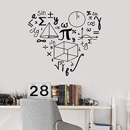 Pegatinas de pared con patrón de amor de matemáticas para la escuela, calcomanía de pared de matemáticas, decoración para habitación de adolescentes, decoración de aula, murales artísticos A5 57x63cm