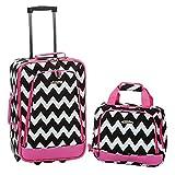Rockland Fashion Softside Upright Luggage Set, Pink Chevron, 2-Piece (14/19)