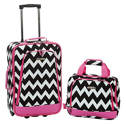 Rockland Fashion Softside Upright Luggage Set, Pink Chevron