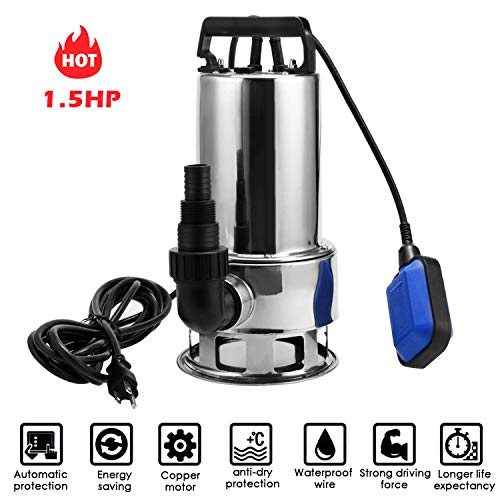 Homdox 1.5 HP Stainless Steel Submersible Sump Pump Dirty...