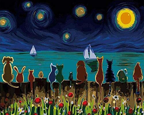 DIY olieverfschilderij verf op nummers kit voor volwassenen beginners met borstels en pigment kunsten ambachtelijke canvas schilderij voor kinderen en volwassenen nacht dieren 40 X 50 cm OPP tas