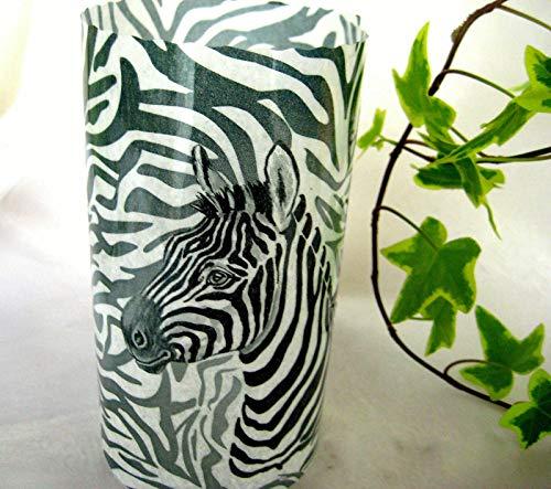 Runde Windlicht Tischdeko Afrika Wilde Tiere Zebra Servíettentechnik