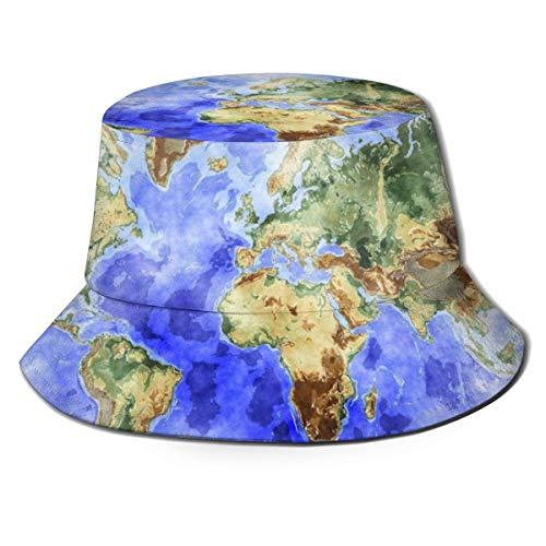 Mapa del Mundo Océano Mar Azul Unisex Sombreros de Cubo al Aire Libre Gorras de Pescador de protección Solar de ala Ancha