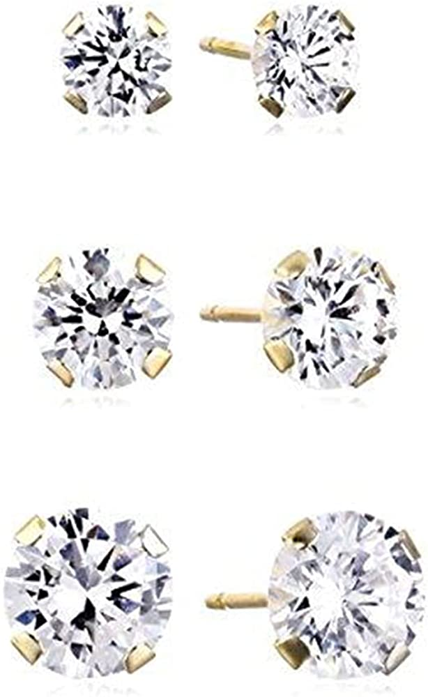 Jewelili 10K Gold 3MM, 4MM and 6MM Round Cut Cubic Zirconia Stud Earrings Box Set