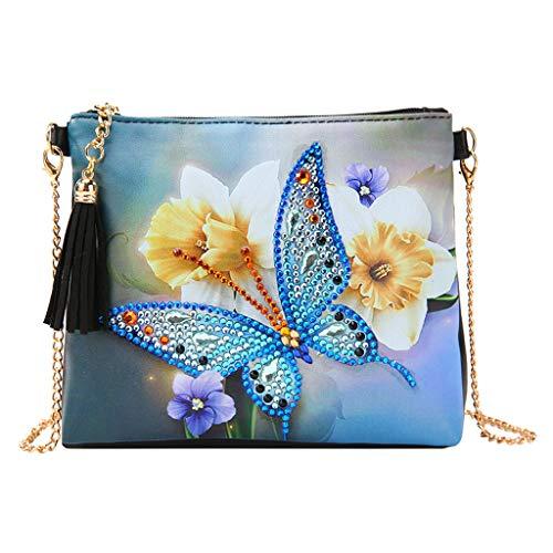 VETPW Mariposa 5D DIY Bolsa de Pintura de Diamantes con Cadena, Diamond Painting Cuero Monedero Bolsa Billetera Bolso de Mano Bolsa de Maquillaje para Fiestas, Viajes, Vacaciones