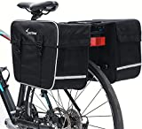 Sportneer Bike Panniers Grocery Bag for Bicycle Rear Rack with Ultra-Stable Hooks Anti-Tear & Bounce-Proof Bike Storage Bag with Rain Cover for Cycling Touring/Commuting/Grocery Shopping