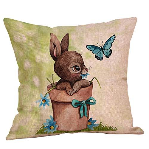 Sylar Funda de Cojín de Pascua Cubierta de Almohada Decorativa Impresa Decoración,Funda de Almohada de Lino y algodón para sofá o Cama