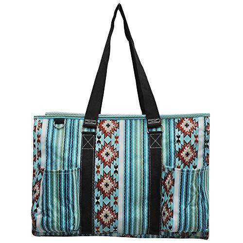 NGIL All Purpose Organizer 18' Large Utility Tote Bag 2019 Spring Collection (Blue Serape Black)
