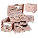 ANWBROAD Caja de joyería rosa para adolescentes y mujeres con organizador de joyería de viaje de 3 capas con cerradura y espejo que hace que tus joyas sean fáciles de categorizar JJB005F