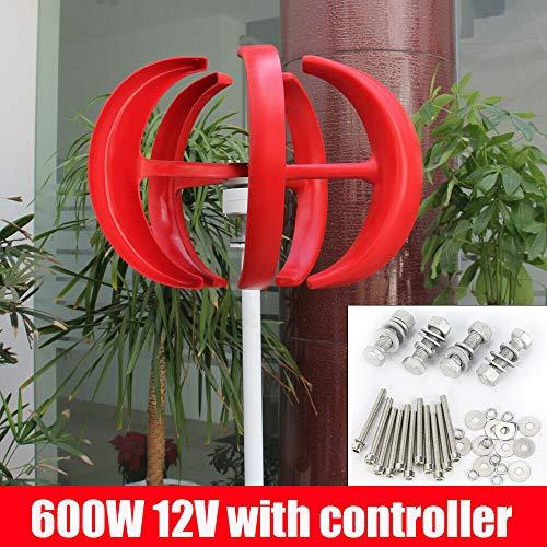 BTdahong 600W 12V Windkraftanlage Generator Vertikal Axis mit Controller 5 Blätter Rot Lantern Wind Turbine Generator für Garten Lärmarm