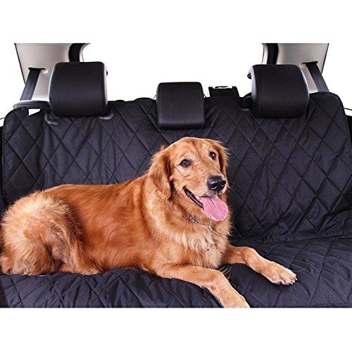 Zumeca Cubierto Asiento Perro, Cubierta Impermeable de Mascotas para el Asiento del Coche Anti-Deslizamiento y Esteras de Coches para Perros (Negro)