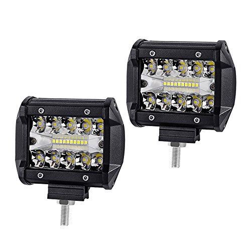 WANYI 2x 4 Pouces 60W Lampe de Travail Led 12000LM Projecteur Phare de Travail LED Imperméable IP67 Feux Antibrouillard Poutre combo Spot et Flood(4 Pouces 60W)