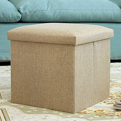 Asiento otomano de almacenamiento, asiento de pie plegable individual, puffe Cube Foot Toy Box con materiales de tela de lino y tapa extraíble para ahorrar espacio (beige)