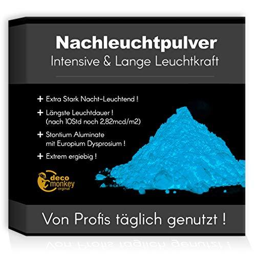 decomonkey Profi Nachleuchtpigment Glühpulver 200g blau/türkis Nachtleuchtendes Phosphoreszierend selbstleuchtend Glow Pulver Nachleuchtpulver Leuchtfarben Nacht Leuchtpulver