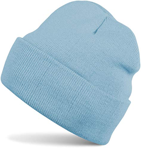 styleBREAKER Unisex warme Beanie Strickmütze, Feinstrick Mütze doppelt gestrickt, Winter 04024029, Farbe:Hellblau