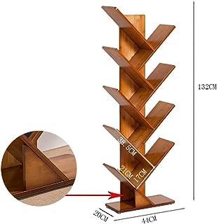 XJJUN Tree Bookshelf Book Rack Display Storage Bookcase Magazine Multi-Tier Floor Free Standing Wood 2/3/4/5 Tier Decor Fo...