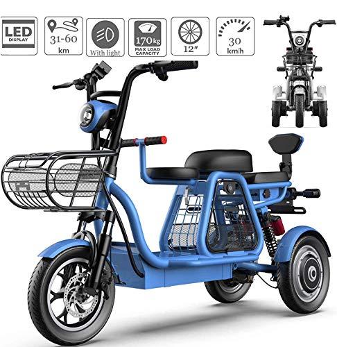 JXH 3 Ruedas 48V E-Ruedas Scooter eléctrico para Adultos Montaña Scooter eléctrico 12 '' Bicicleta eléctrica con Bloqueo eléctrico y Cargador de batería rápido para Home Shopping Uso,Blue 11ah