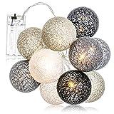 com-four® Guirlande Lumineuse LED Ball - Illumination avec 10 LED dans Un décor scandinave - déco pour Noël, Anniversaire, Mariage ou fête