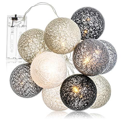 com-four® LED Lichterkette Kugel - Beleuchtung mit 10 LEDs im skandinavischen Dekor - Deko für Weihnachten, Geburtstag, Hochzeit oder Party (01 Stück - Kugeln schwarz/grau/weiß)