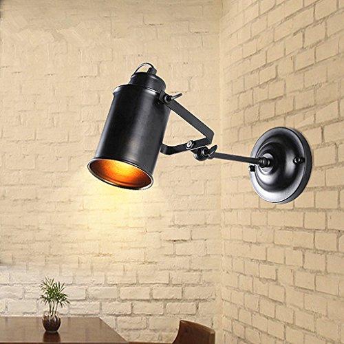 Rétro Mur Lampes Industriel Vent Lustre Intérieur Fer Lampe Noir