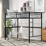 Twin Metal Loft Bed with Desk and Ladder, Full-Length Guardrail, Loft Bed for Kids Teens Online Learning, Space-Saving Design (Black)