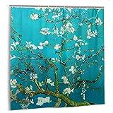 fudin Duschvorhang, Van Gogh Mandelblüten Badvorhang Set mit Haken 72 x 72 Zoll