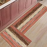 Alfombra de cocina roja con textura de grano de madera Retro, felpudo de entrada para dormitorio, alfombra para decoración del suelo del hogar, alfombra antideslizante para baño, alfombra A1 40x60cm