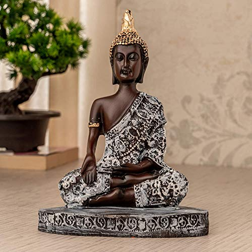 TIED RIBBONS Lord Buddha Statue Figure Home Decorative Items for Indoor Shelf Living Room Bedroom Table Top Decoration and Gifting (Glossy Finish Bhumisparsa Mudra, 16 X 12 cm, L X H)