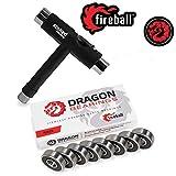 Fireball Dragon Precision Skateboard Bearings w/T-Tool | 608 Bearing for Skateboards, Longboards, Inline Skates, Roller Skates, Spinners (Race)