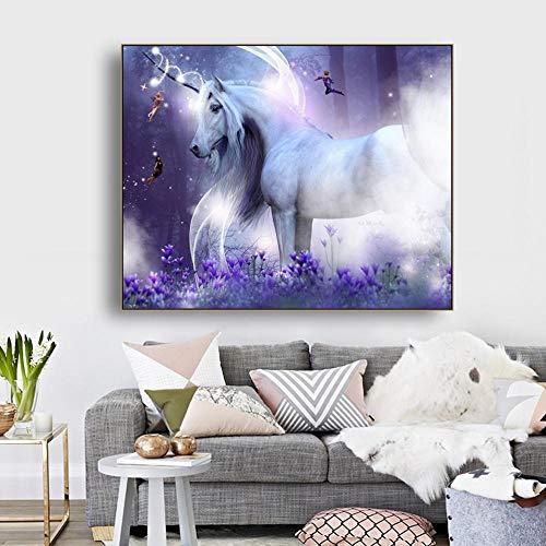 HANTAODG Impresión De La Lona Arte De La Pared del Sueño Unicornio Lienzo Póster E Impresión De Imagen Decorativa para La Decoración del Hogar De La Sala De Estar 50Cmx70Cm
