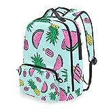 QMIN Mochila de verano tropical, piña, sandía, desmontable, para la escuela, viajes, universidad, mochila con cierre de cremallera, organizador para niños, niñas, mujeres, hombres