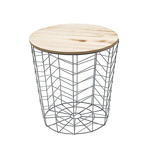 Home Deco Factory Schnurgebundener Tisch, MDF, Metall, Grau/Beige, Einheitsgröße