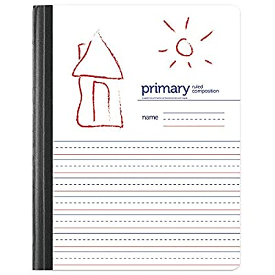 "Office Depot Brand Primary Composition Book, 7 1/2"" x 9 3/4"", Unruled/Primary Ruled, 200 Pages (100 Sheets), White"