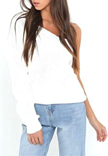 Mujer Suéter De Punto Elegante Hipster Pullover Otoño One Shoulder Manga Larga Color Sólido Modernas Casual Sin Tirantes C...