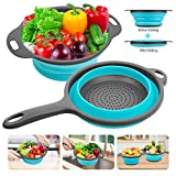 Silicone Collapsible Colanders and Strainers (2 Piece Set -Blue), Rareccy Kitchen Colander with Handles Diameter Sizes 8' - 2 Quart - Folding Food Strainer for Draining Pasta, Vegetable, Fruit