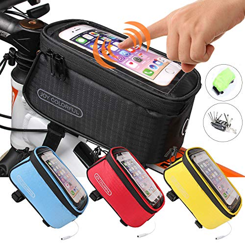Find Cheap JOY COLORFUL Bicycle Bags Bicycle Front Tube Frame Cycling Packages 4.2,4.8,5.5 inches Touch Screen Mobile Phone Bags Professional Bicycle Accessories (Black, Large)
