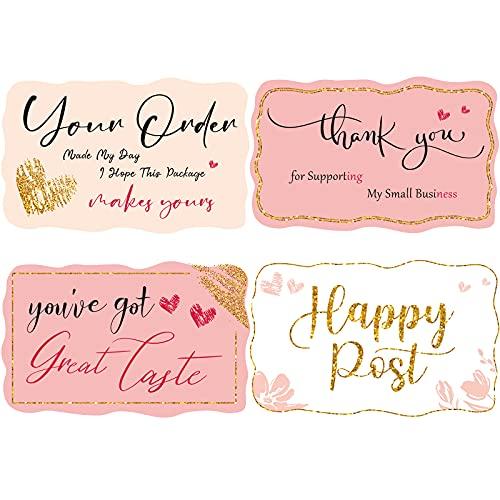 1000 Adesivi di Your Order Made My Day in Lamina d'Oro Adesivi di Grazie da Affari Etichetta Adesiva per Imballaggio a Rotolo Decorazione da Sigillatura di Buste, 4 Disegni, Colori Caldi