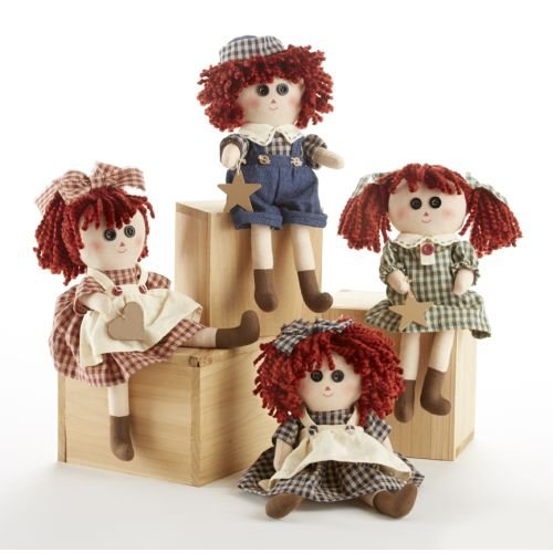 Delton 10-Inch Button Eyed Raggedy Doll (Set of 4)