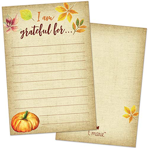 40 Thanksgiving Game Gratitude Cards - I Am Grateful Cards for Thanksgiving Dinner Party and Plate Settings with Pumpkin and Autumn Leaves Decorations - Great Activity For Kids and Adults