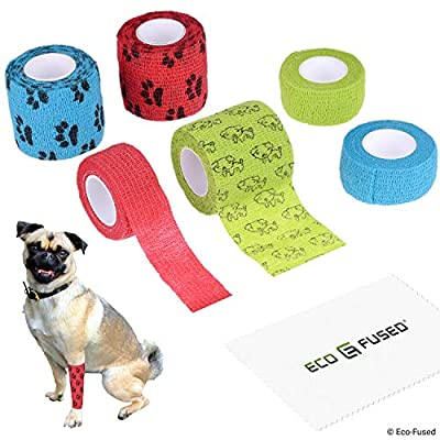 Self Adhering Bandage - Injury Wrap Tape for Dogs - Pack of 6 - Supports Muscles and Joints - Easy to Apply and Tear - Does not Stick to Hair - Elastic, Water Repellent, Breathable - Relieves Stress by Eco-Fused