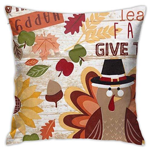 Thanksgiving Pillow Covers Harvest Thanksgiving Turkey Square Pillowcase Cushion 45X45CM