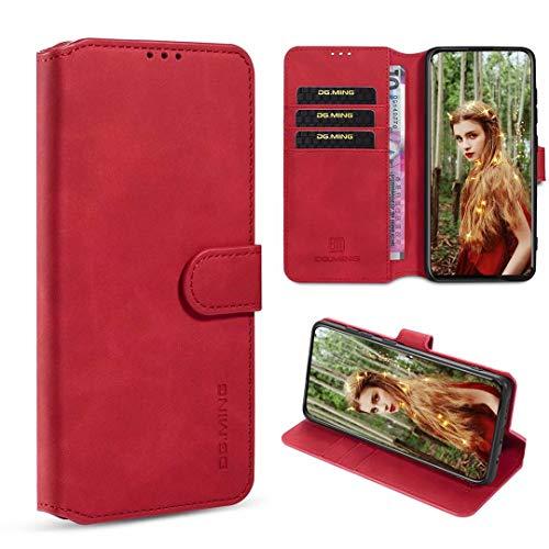 xinyunew Samsung Galaxy M20 Hülle, 360 Grad Handyhülle + Panzerglas Premium Handy Schutzhülle Leder Wallet Tasche Flip Brieftasche Etui Schale (Rot)