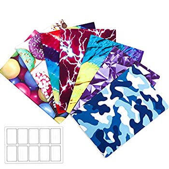 Feela 7 Pack Nylon Fabric Jumbo Stretchable Book Covers with 10 Labels