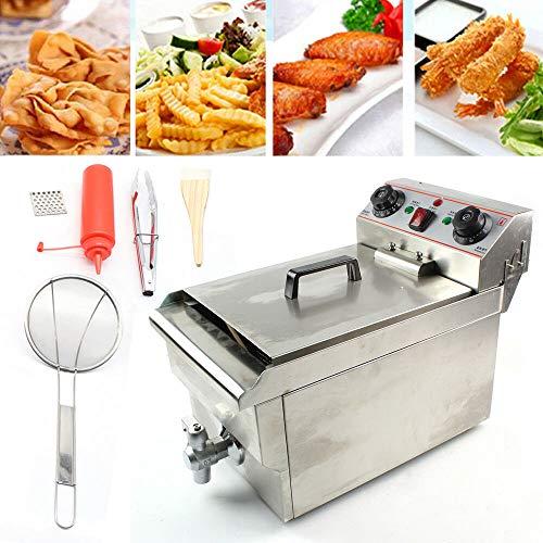 Zephyri Friteuse électrique en acier inoxydable 10L Friteuse friteuse zones froides, friteuse électrique Quantité d'huile max.6,5 L avec panier avec poignée